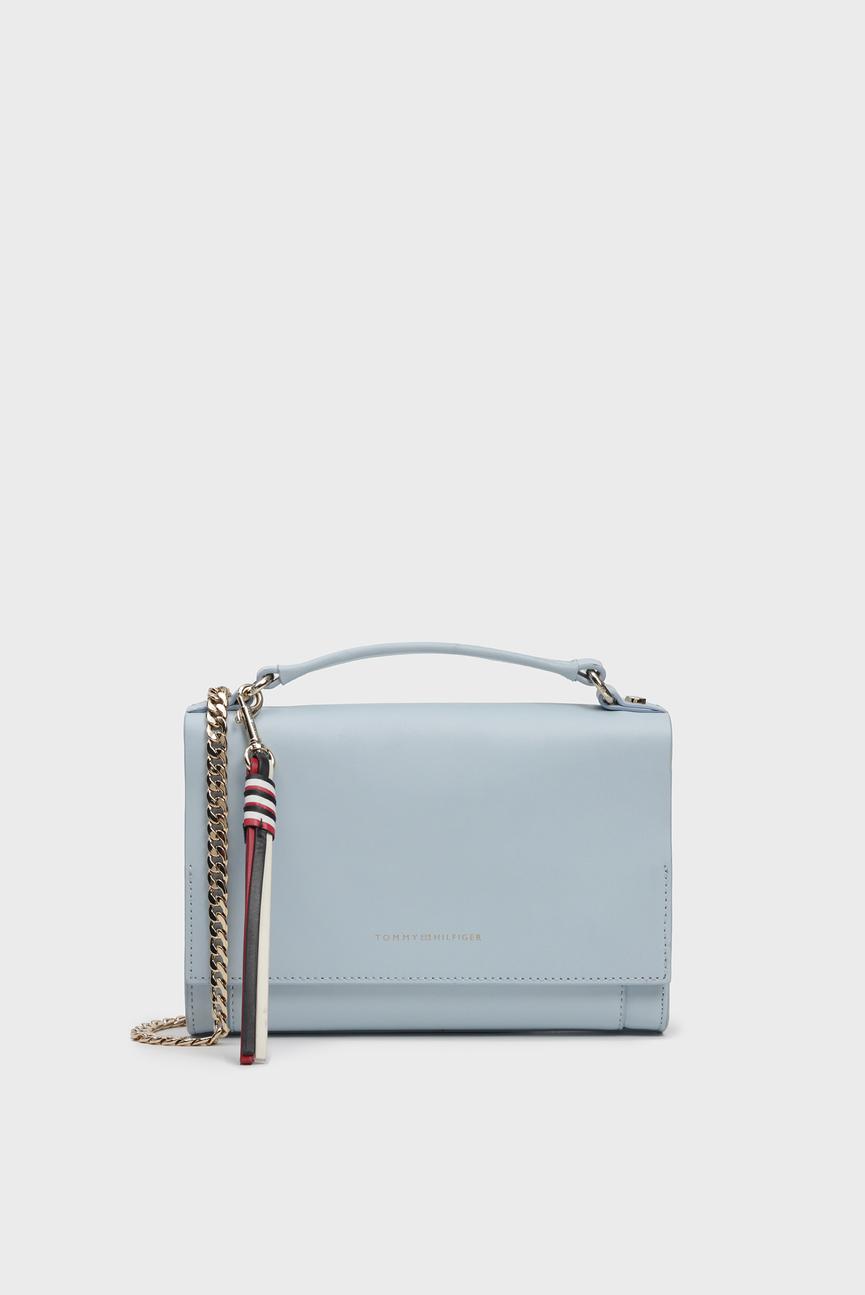 Женская голубая кожаная сумка через плечо CLASSIC