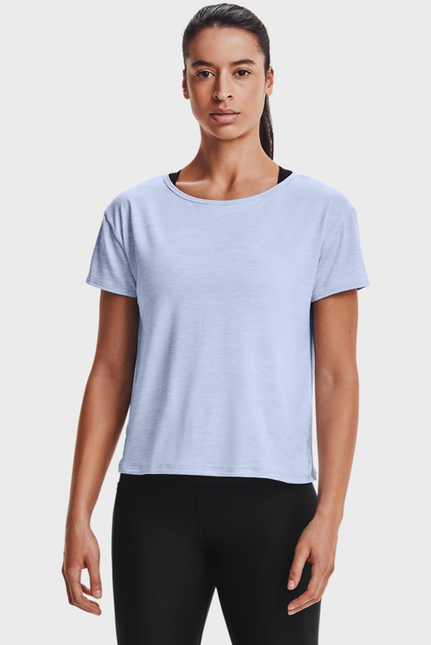 Женская голубая футболка UA Tech Vent SS-BLU 1