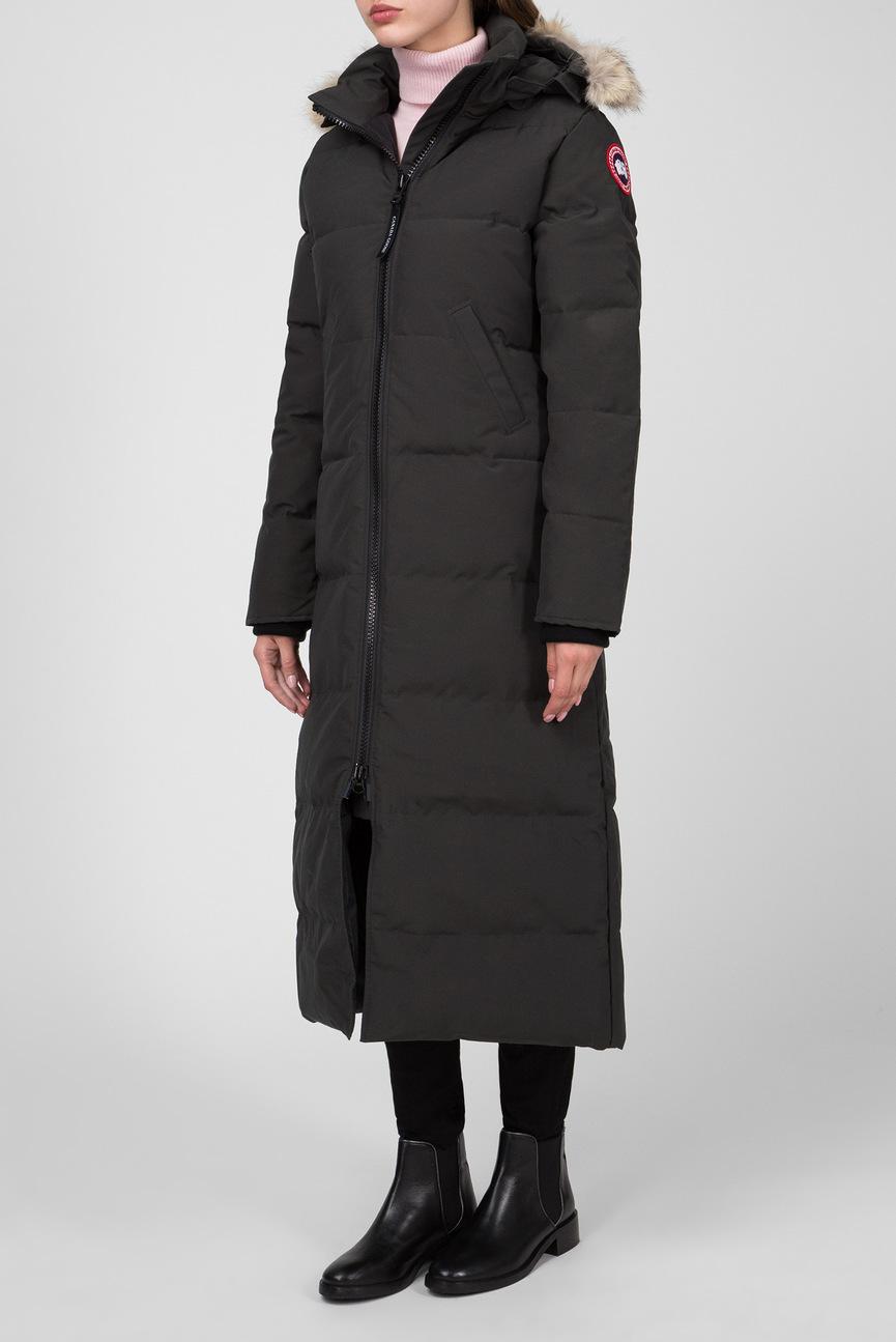 Женская черная пуховая удлиненная куртка ROSSCLAIR