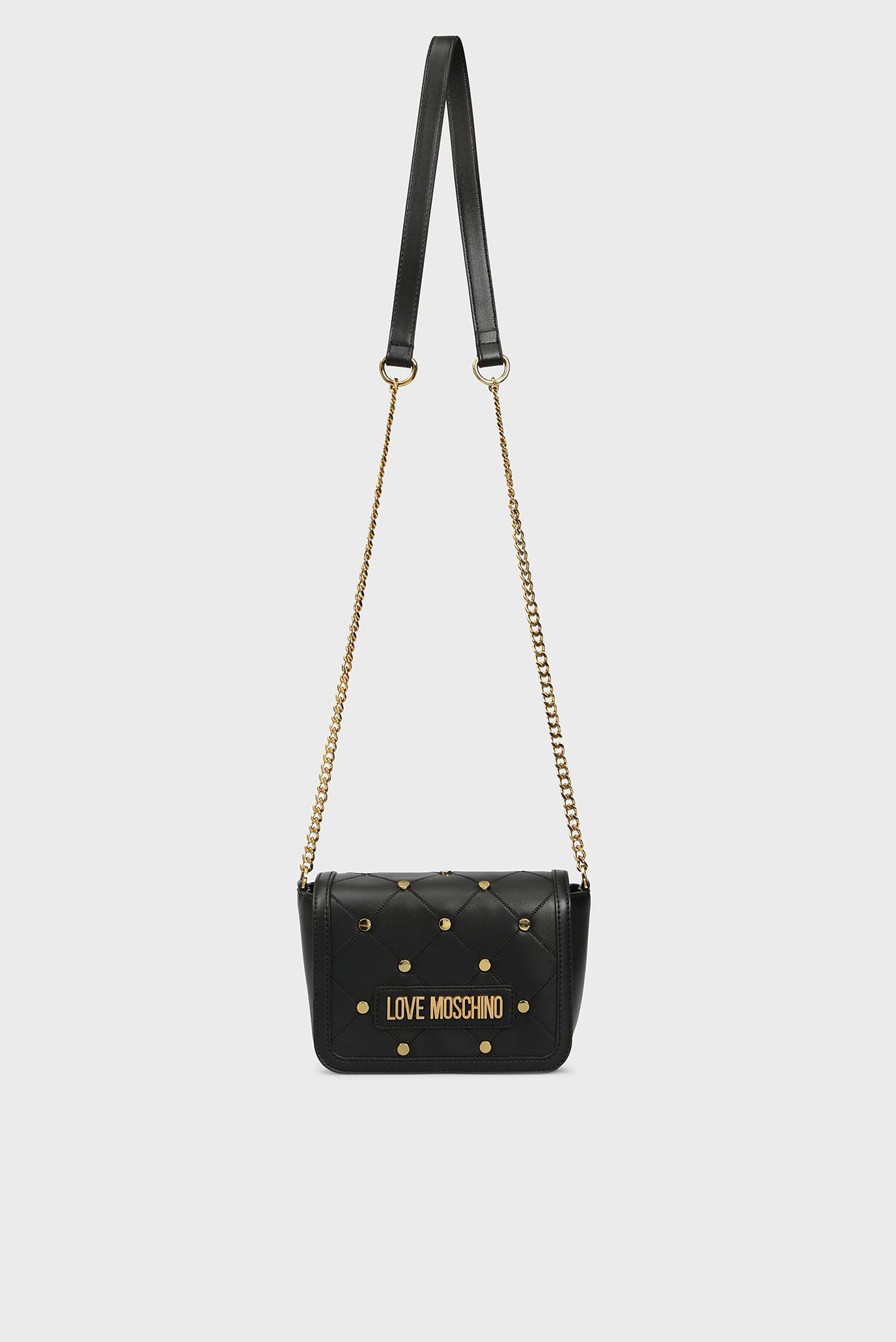 Женская черная сумка через плечо BORSA Love Moschino