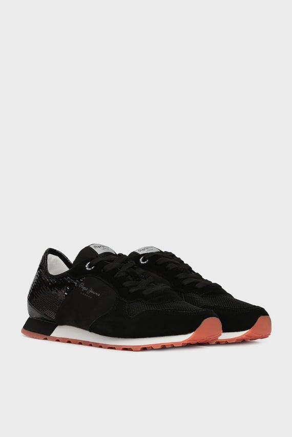 Женские черные замшевые кроссовки VERONA W NEW SEQUINS 2