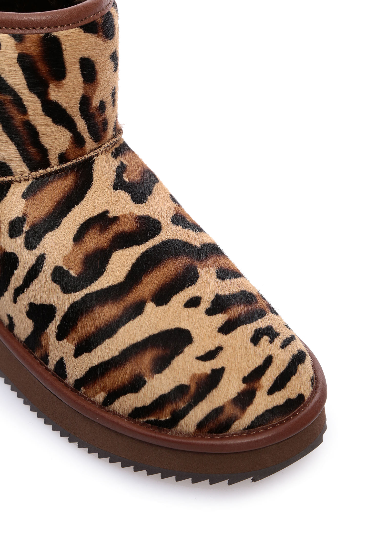 Женские леопардовые угги с мехом Baldinini