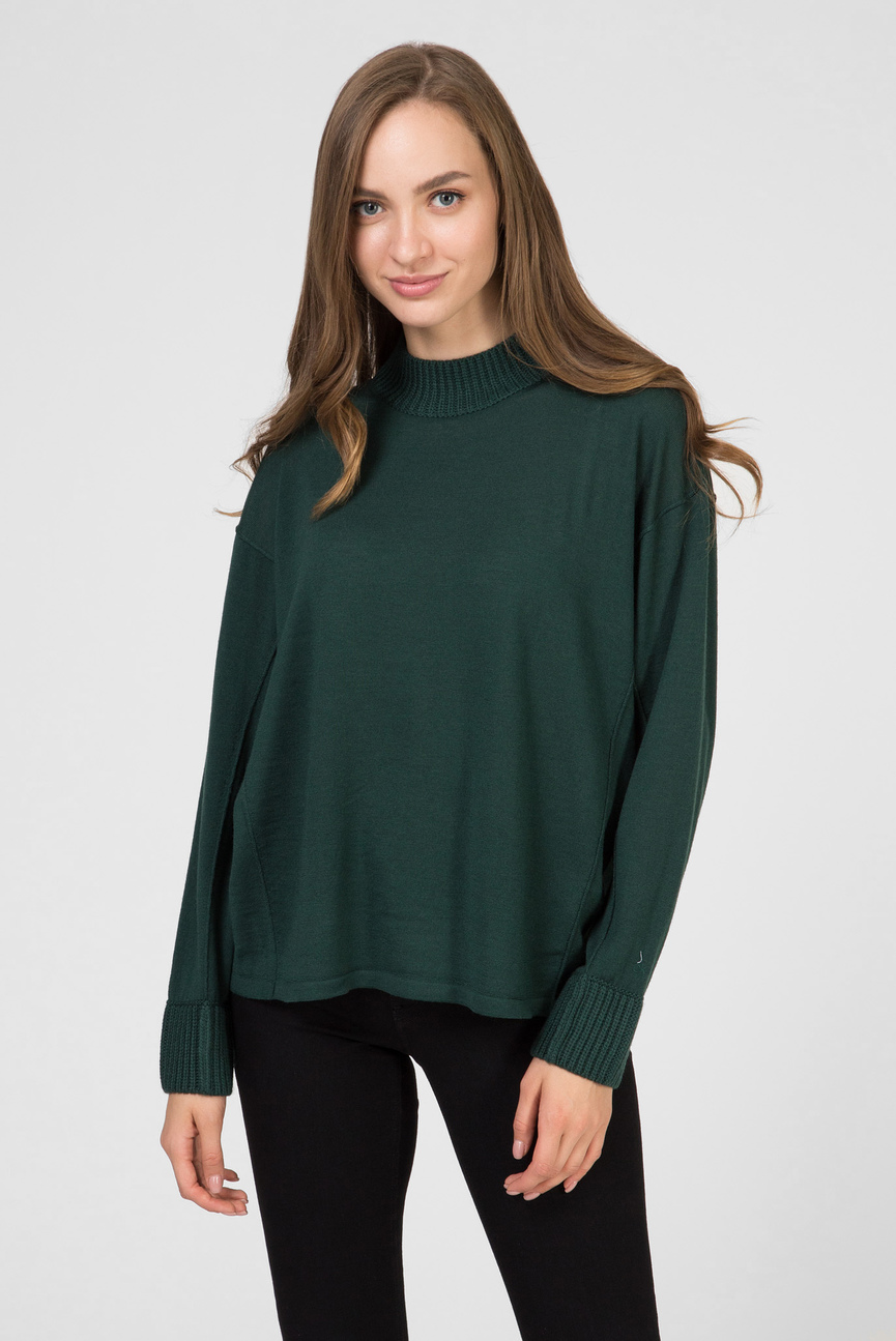 Женский зеленый шерстяной джемпер