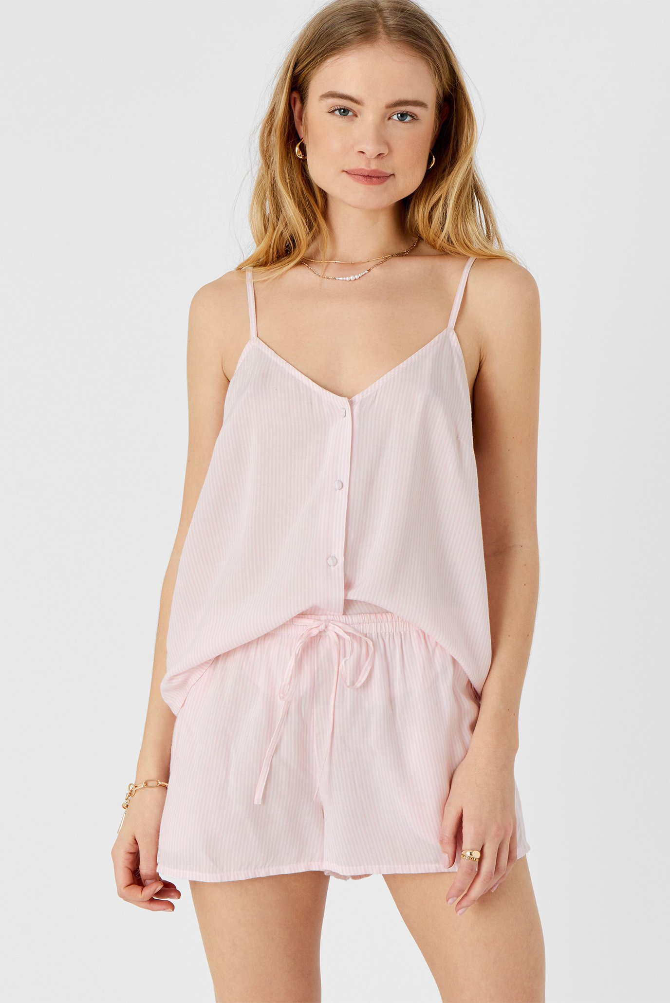 Женская розовая пижама (топ, шорты) STRIPE VEST SET 1