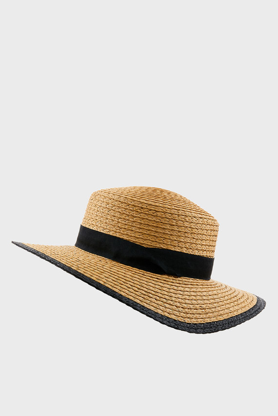 Женская бежевая шляпа PREPPY BOATER