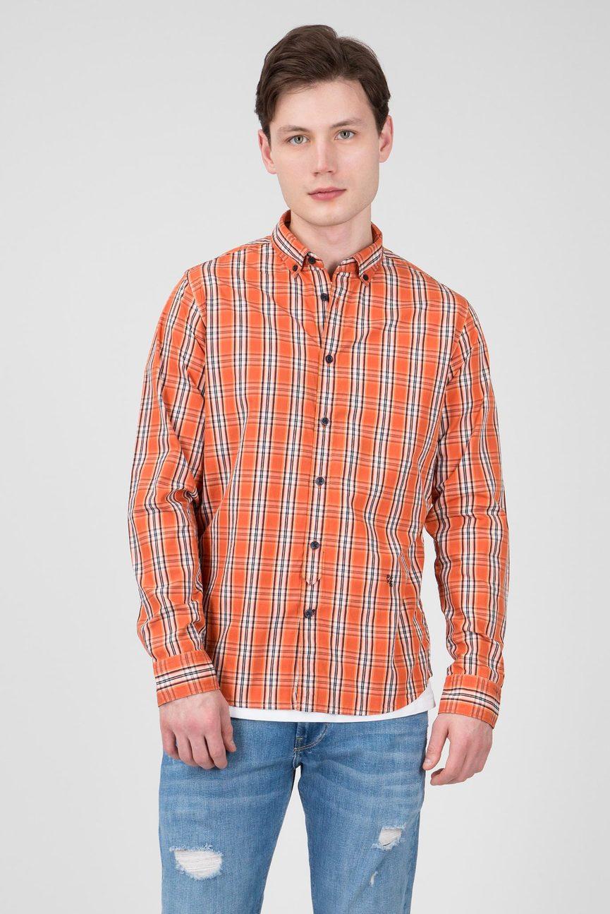 Мужская оранжевая рубашка в клетку CHANDLER