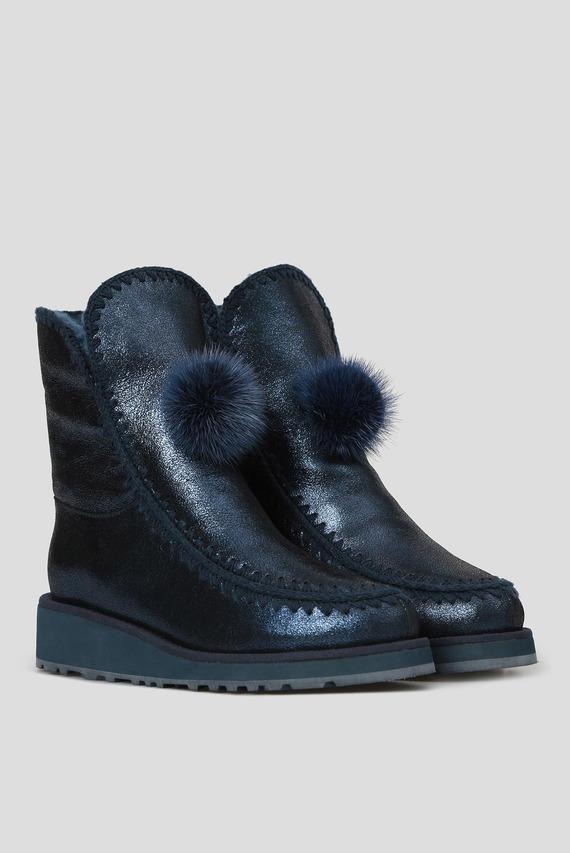 Женские синие кожаные ботинки с мехом