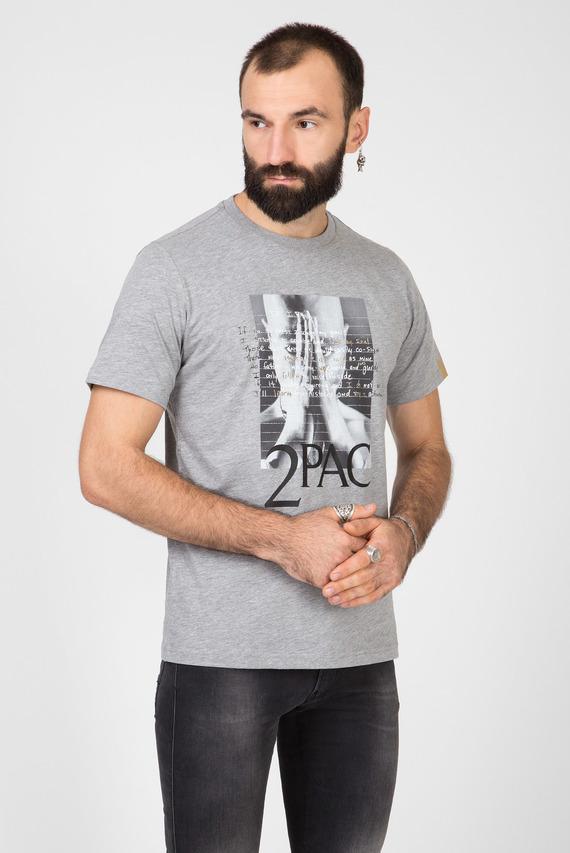 Мужская серая футболка TRIBUTE 2PAC