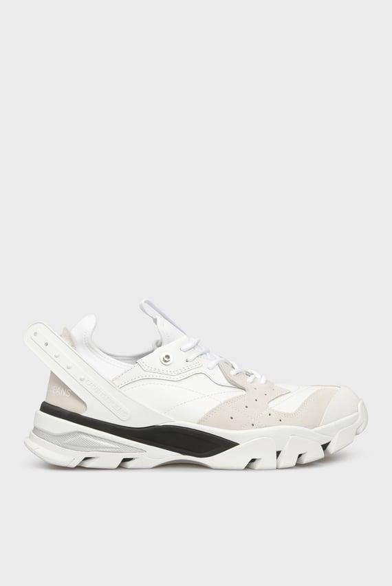 Мужские белые кожаные кроссовки CALADOR