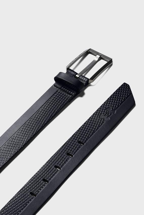 Мужской черный кожаный ремень Laser Perf Leather Belt