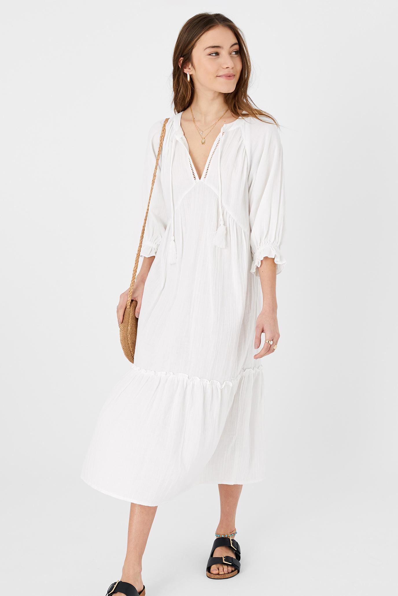 Жіноча біла сукня CRINKLE MAXI OVERSIZE 1