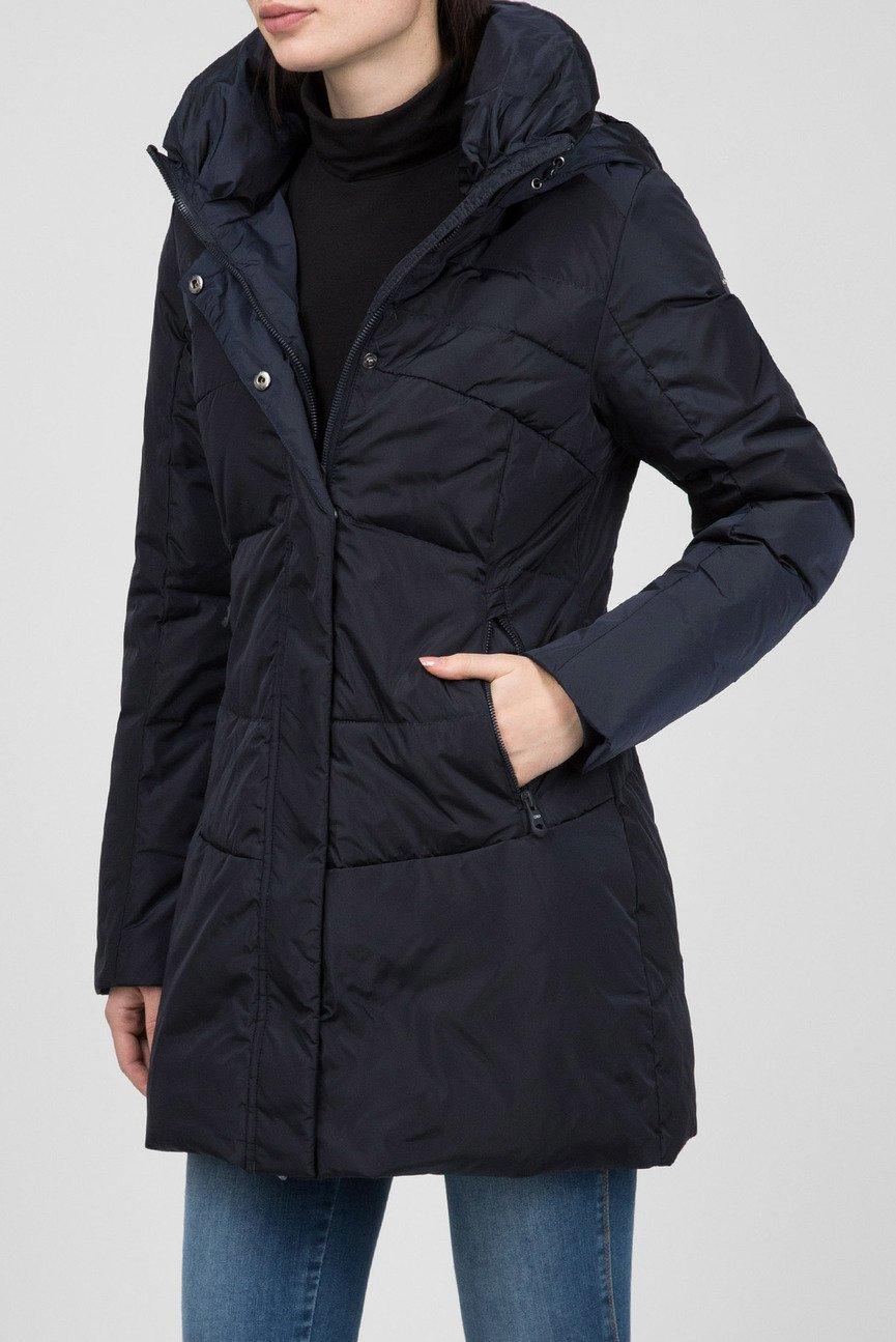 Женская темно-синяя пуховая куртка