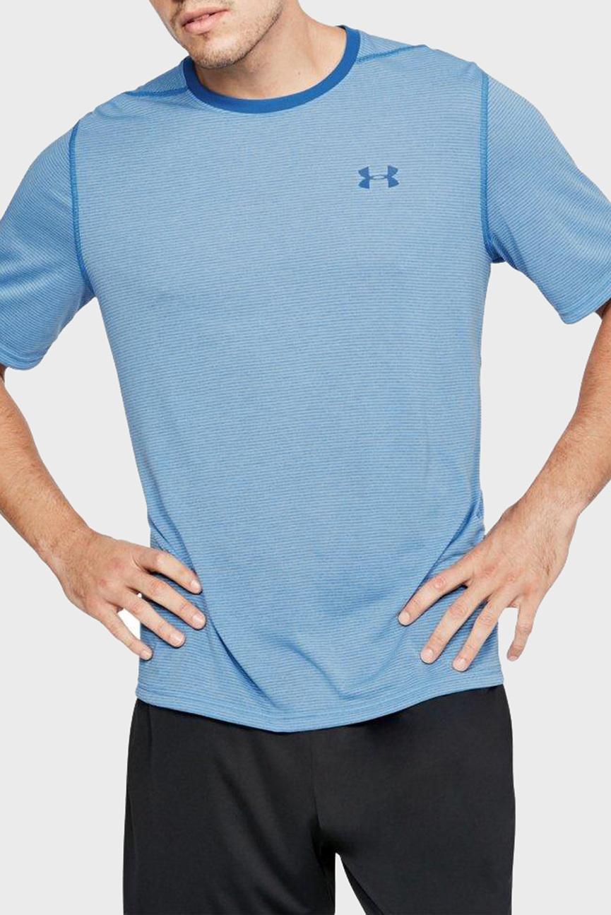 Голубая мужская футболка UA THREADBORNE STRIPE SS