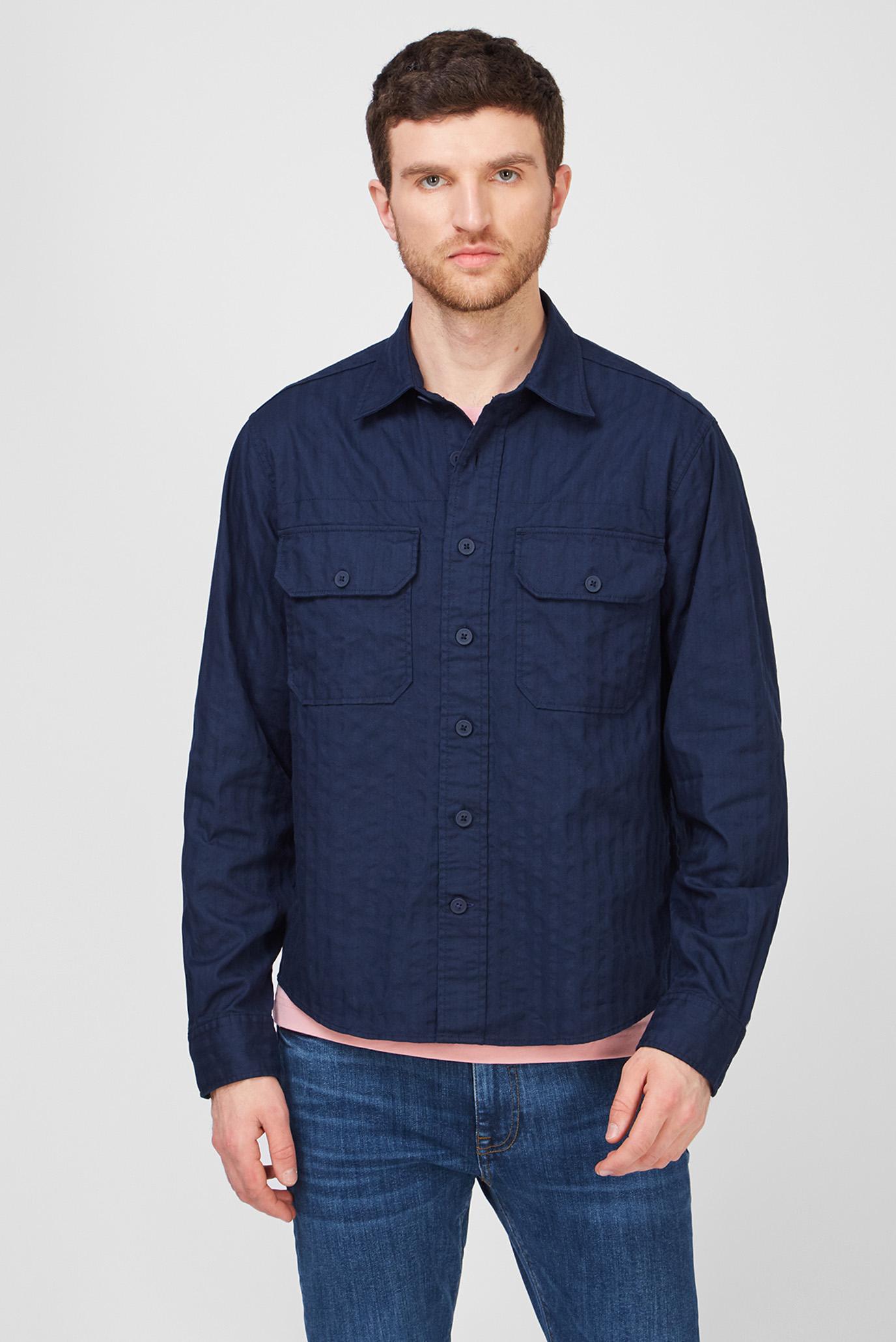 Мужская темно-синяя рубашка TONAL HERRINGBONE 1