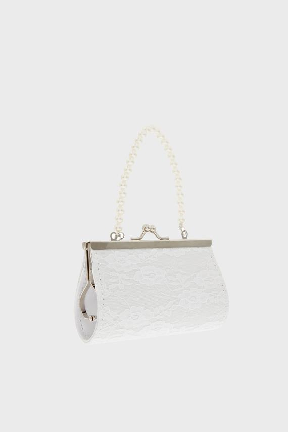 Детская белая сумка Lace Pearl Butterfly