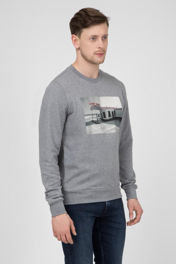 Мужской серый свитшот с принтом ROAD TRIP