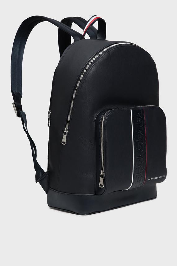 Мужской темно-синий кожаный рюкзак LEATHER BACKPACK STRIPE