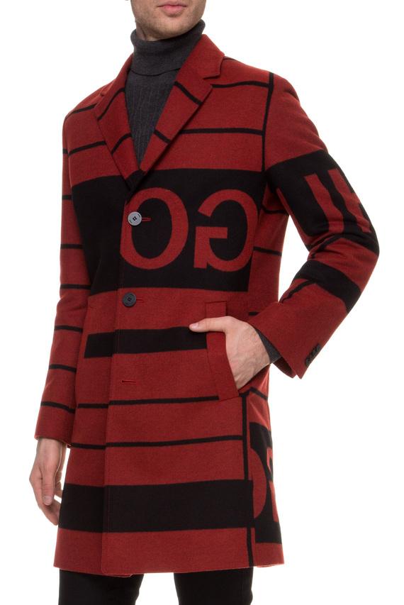 Мужское бордовое пальто с узором