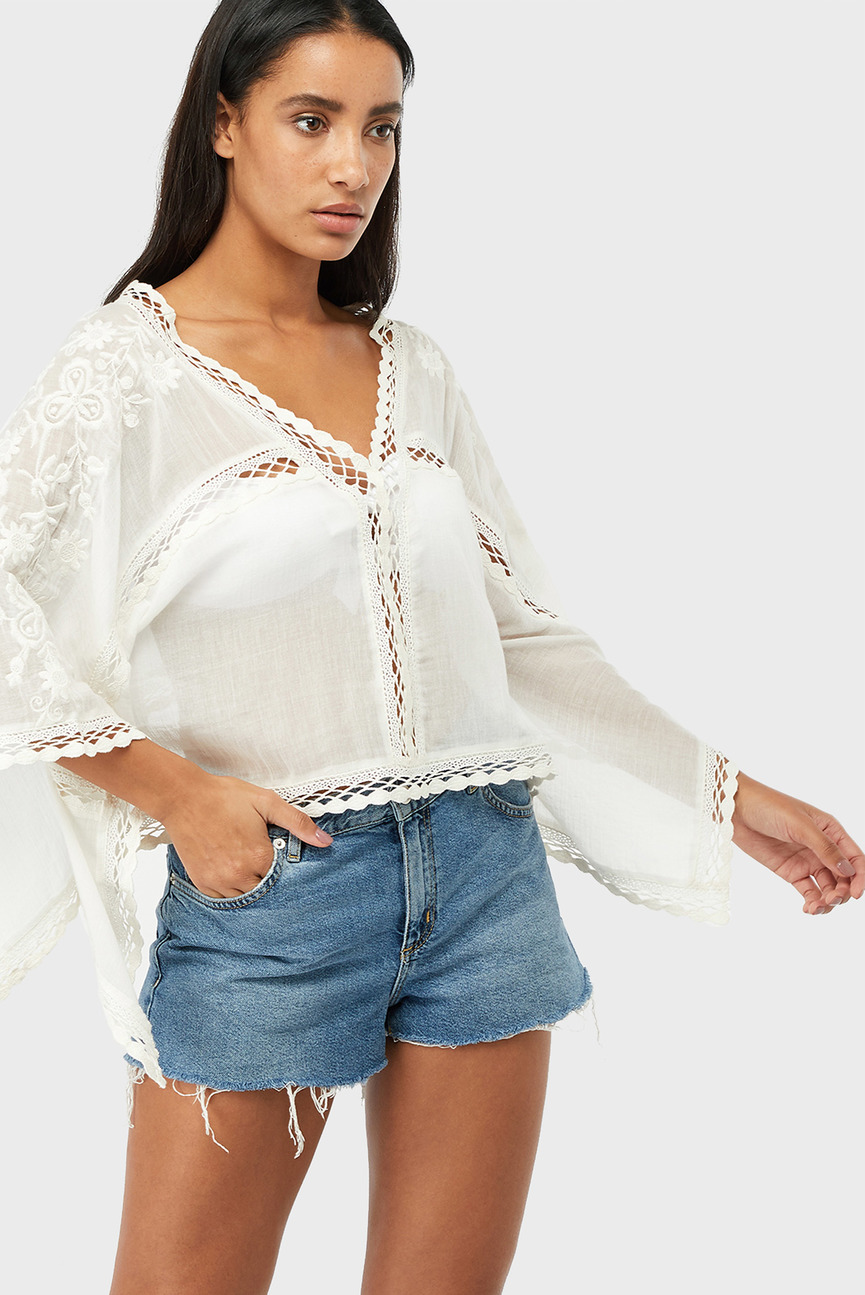 Женская белая блуза CROPPED WHITE KAFTAN