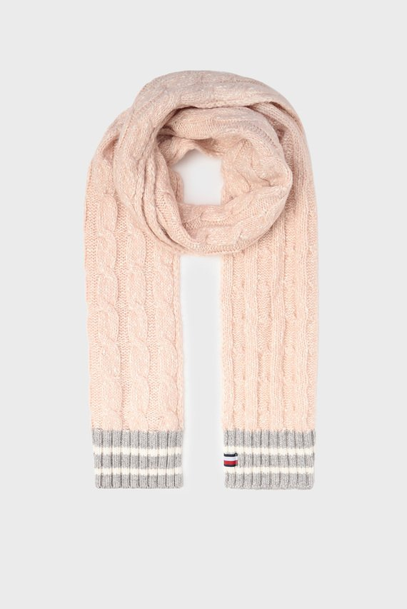 Женский розовый шарф CABLE KNIT