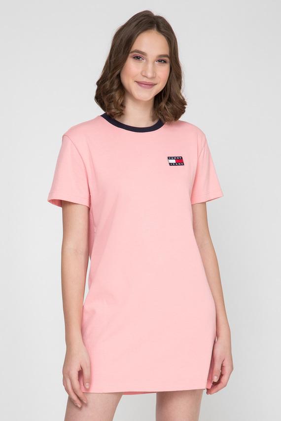 Женское розовое платье-футболка TJW CONTRAST NECK RIB