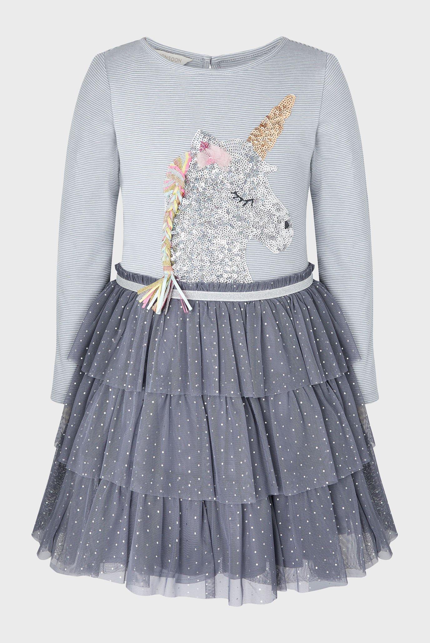 Дитяча сіра сукня SEQUIN UNICORN DRESS 1