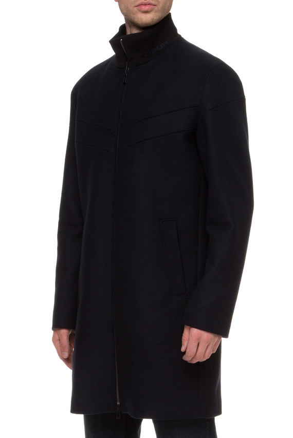 Мужское темно-синее шерстяное пальто