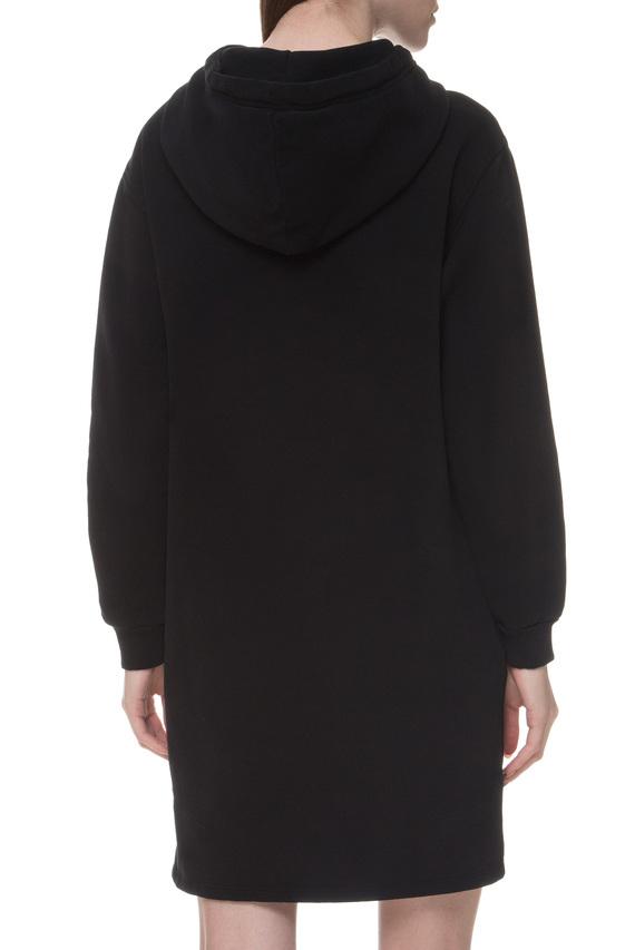 Женское черное платье-худи
