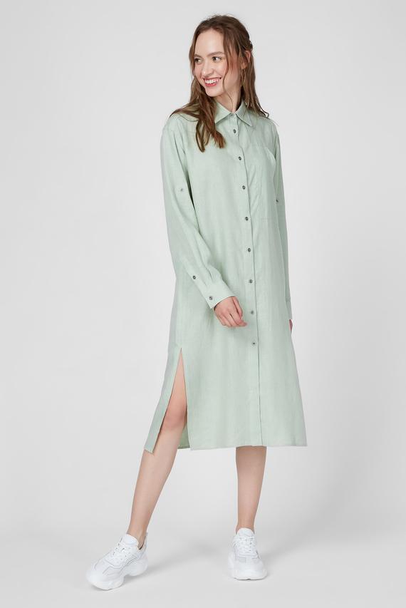 Женское мятное льняное платье WWD 003