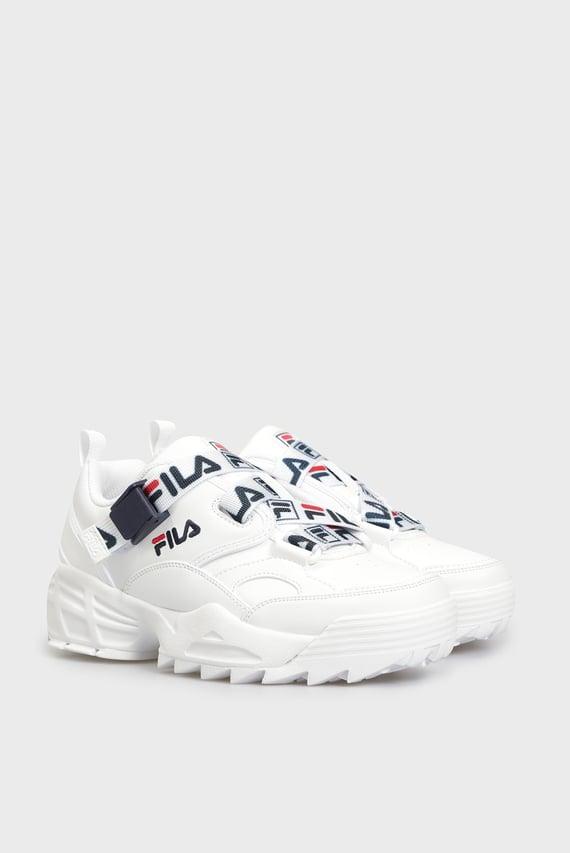 Женские белые кожаные кроссовки FAST