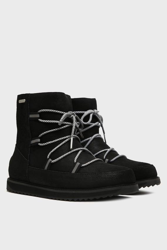 Женские черные замшевые ботинки с мехом Rutledge