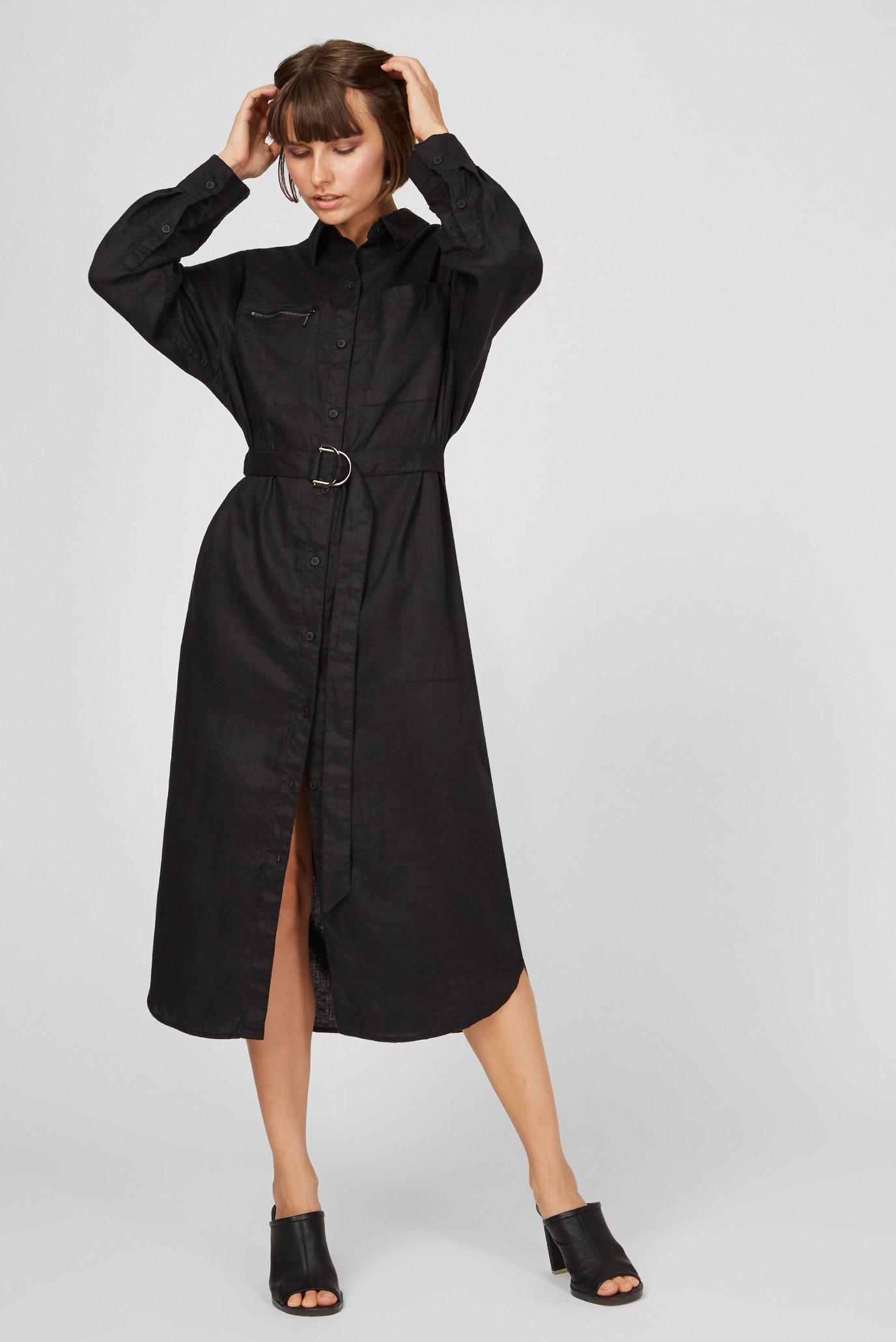 Жіноча чорна лляна сукня 1