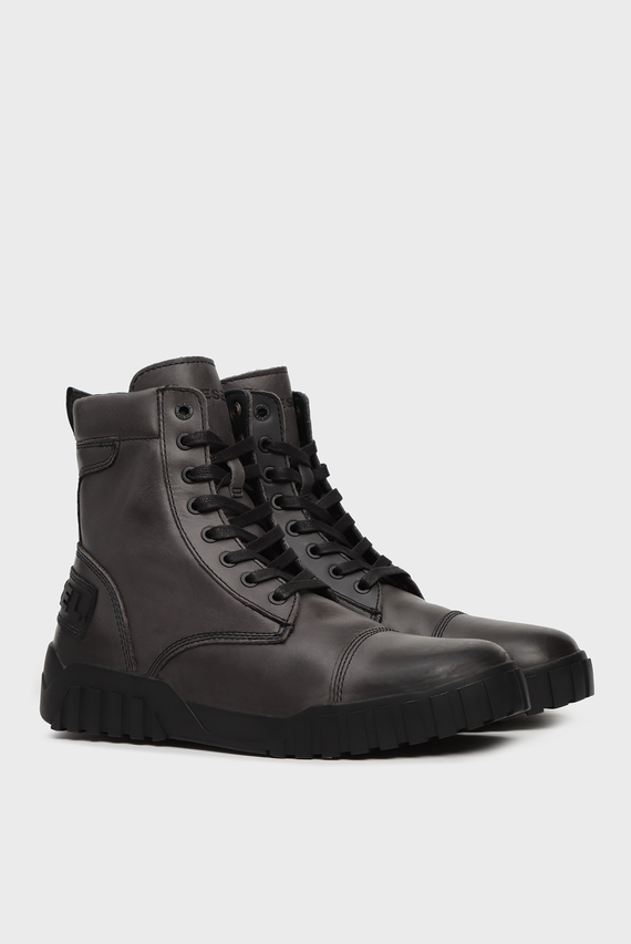 Мужские серые кожаные ботинки LE RUA / H-RUA AM