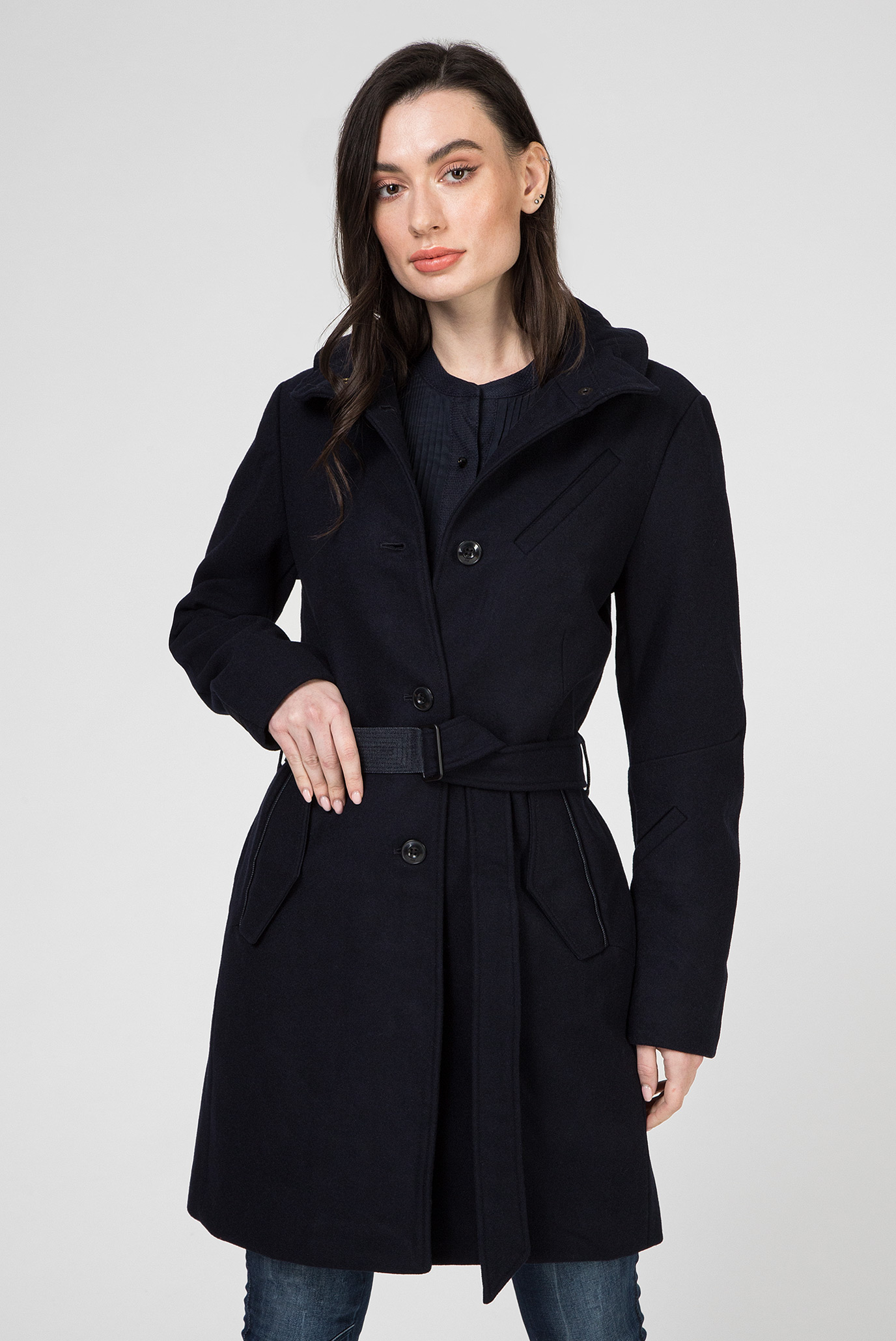 Женское темно-синее шерстяное пальто Empral G-Star RAW D15156,7275 — MD-Fashion