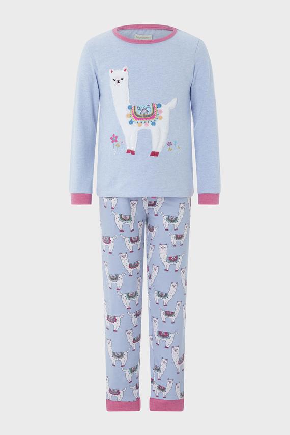 Детская голубая пижама LIBBY LLAMA (свитшот, брюки)