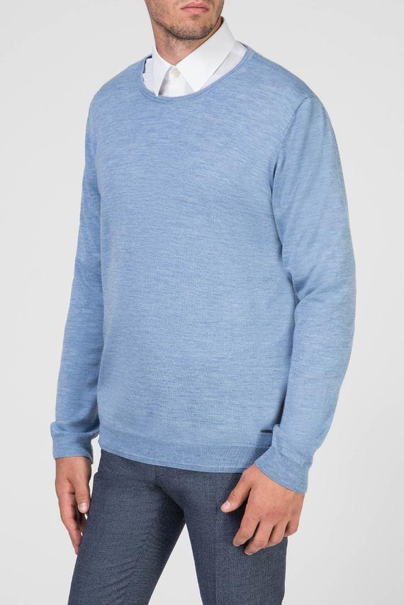 Мужской голубой шерстяной джемпер