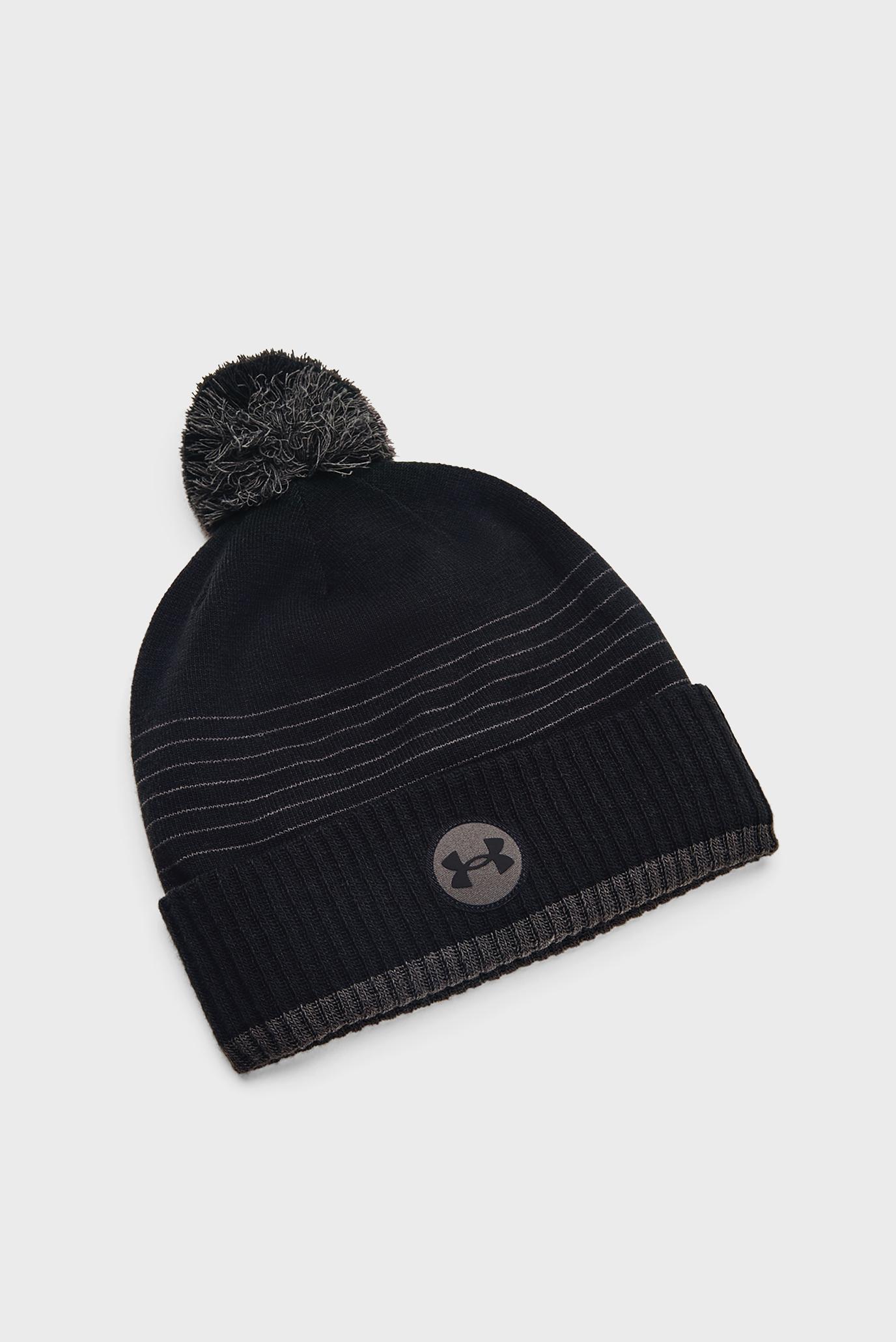 Мужская черная шапка UA Halftime Fleece Beanie 1