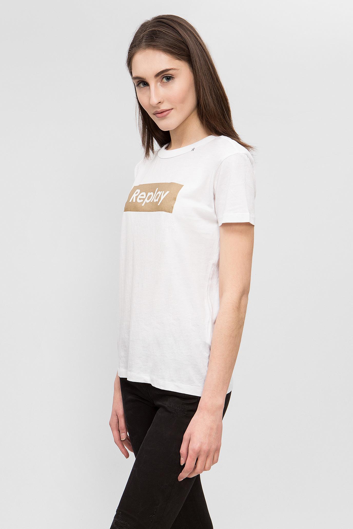 Купить Женская белая футболка с принтом Replay Replay W3984 .000.20994 – Киев, Украина. Цены в интернет магазине MD Fashion