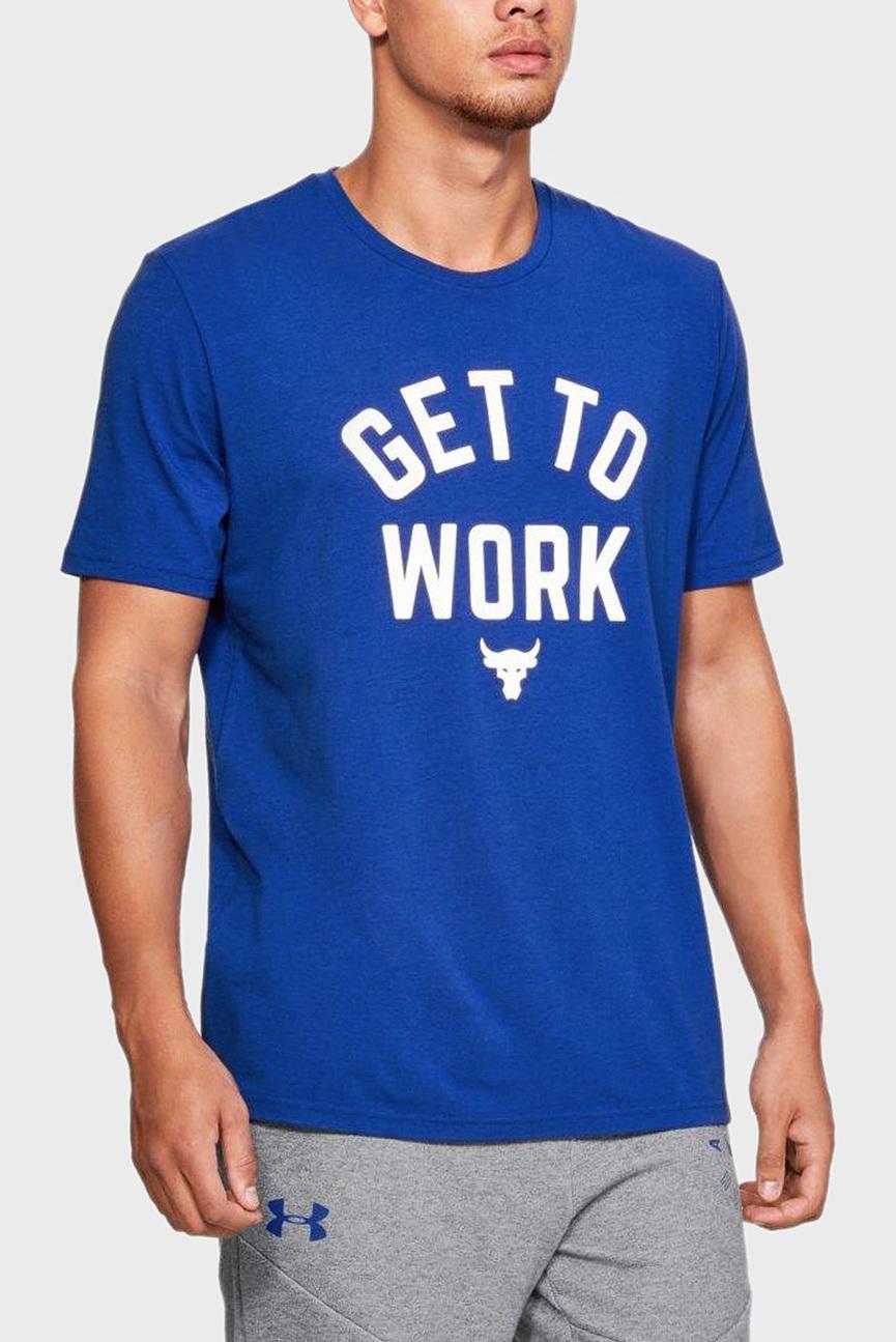 Мужская синяя футболка PROJECT ROCK GET TO WORK