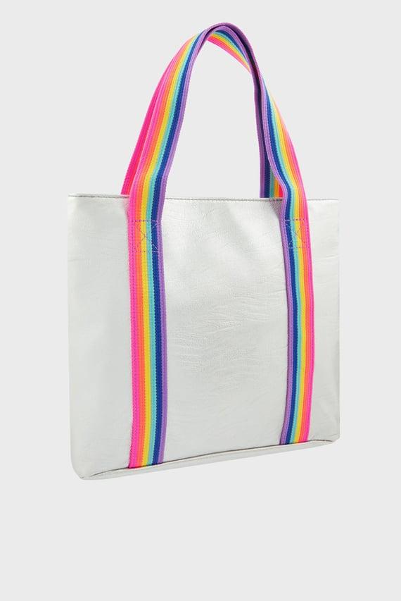 Детская серебристая сумка на плечо RAINBOW STRIPE METAL