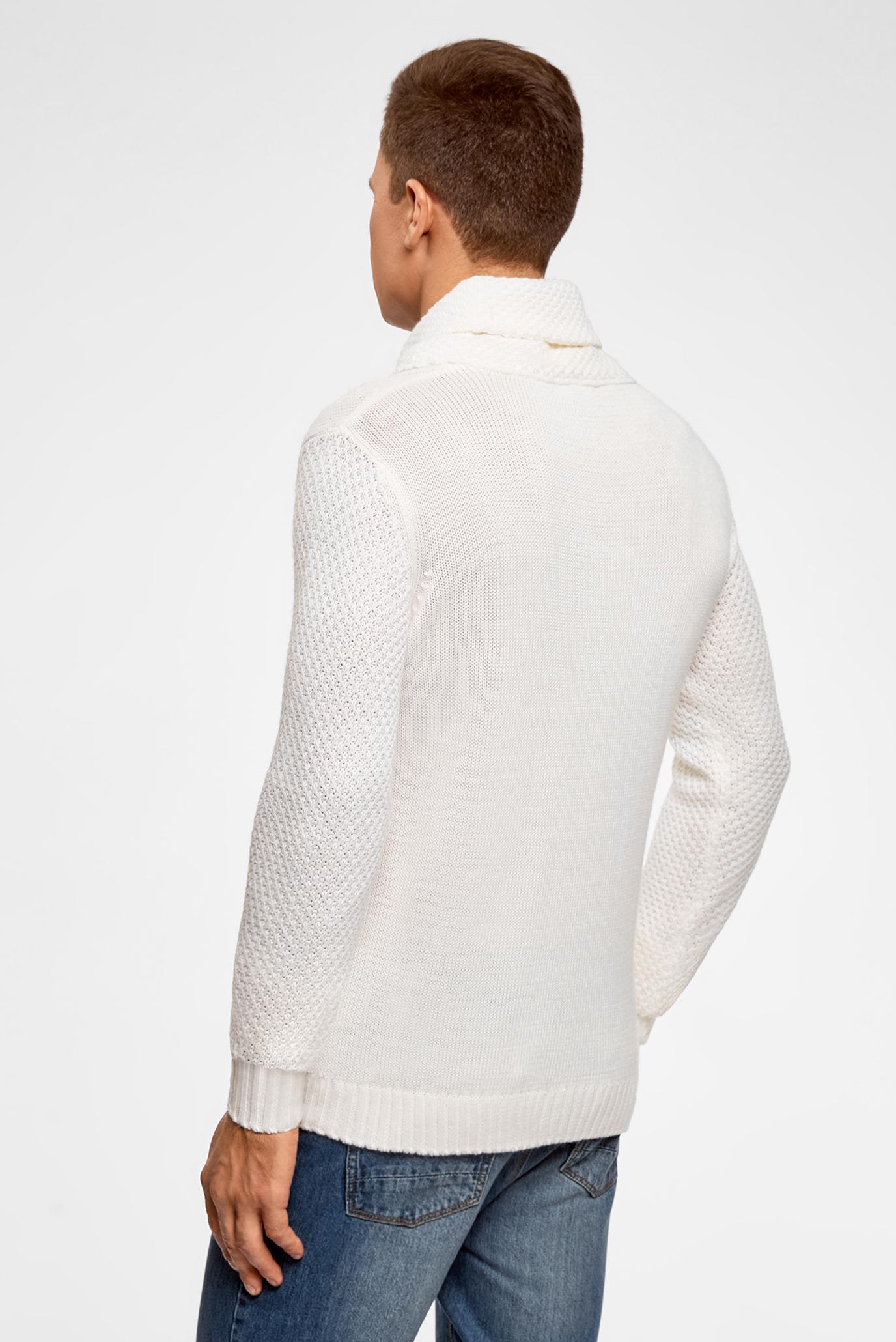 299baa4235e20 Купить Мужской белый свитер Oodji Oodji 4L205019M/44475N/1200N – Киев,  Украина. Цены в интернет магазине MD Fashion