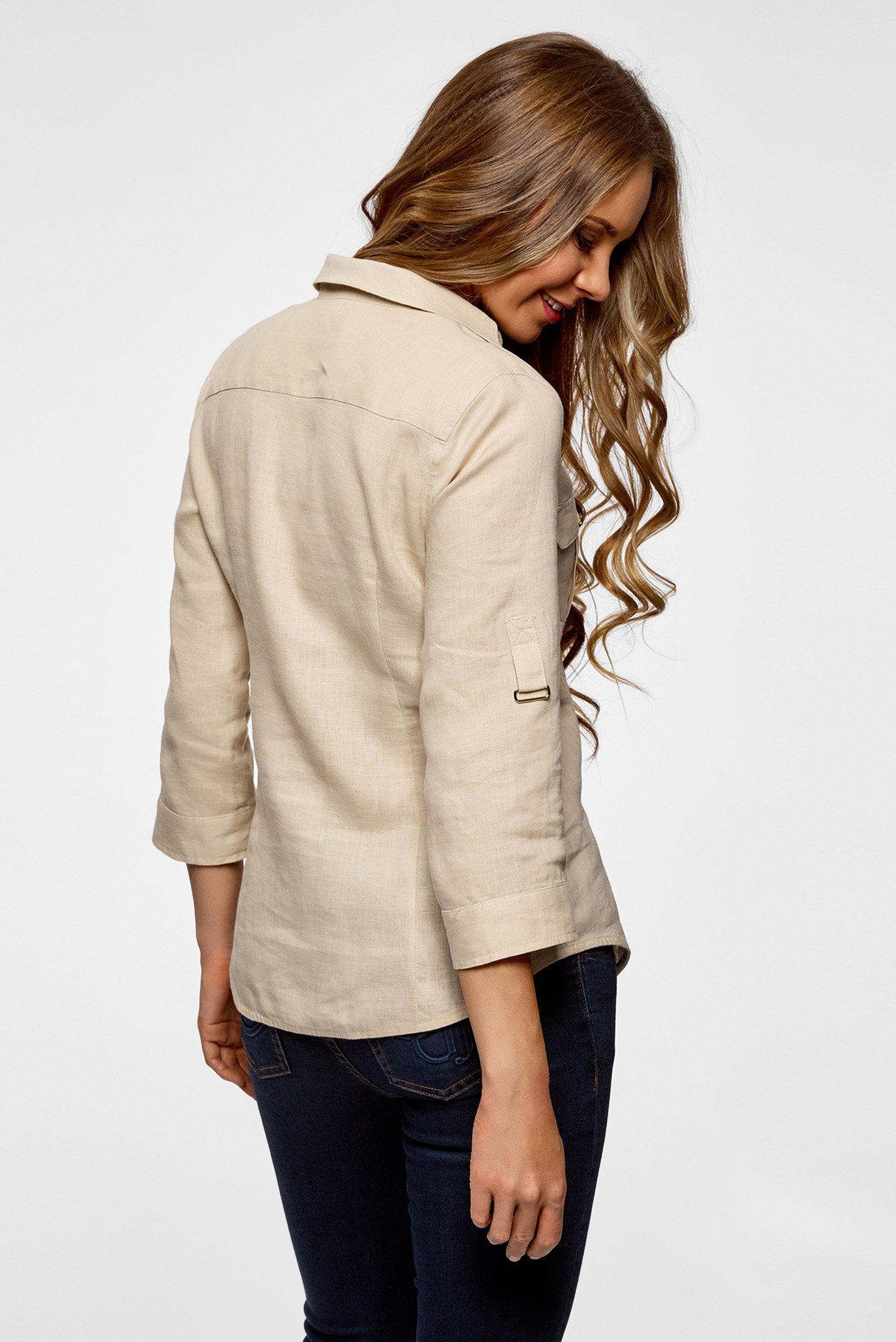 c72be8b578a Купить Женская бежевая льняная рубашка Oodji Oodji 21412145 42532 3300N –  Киев