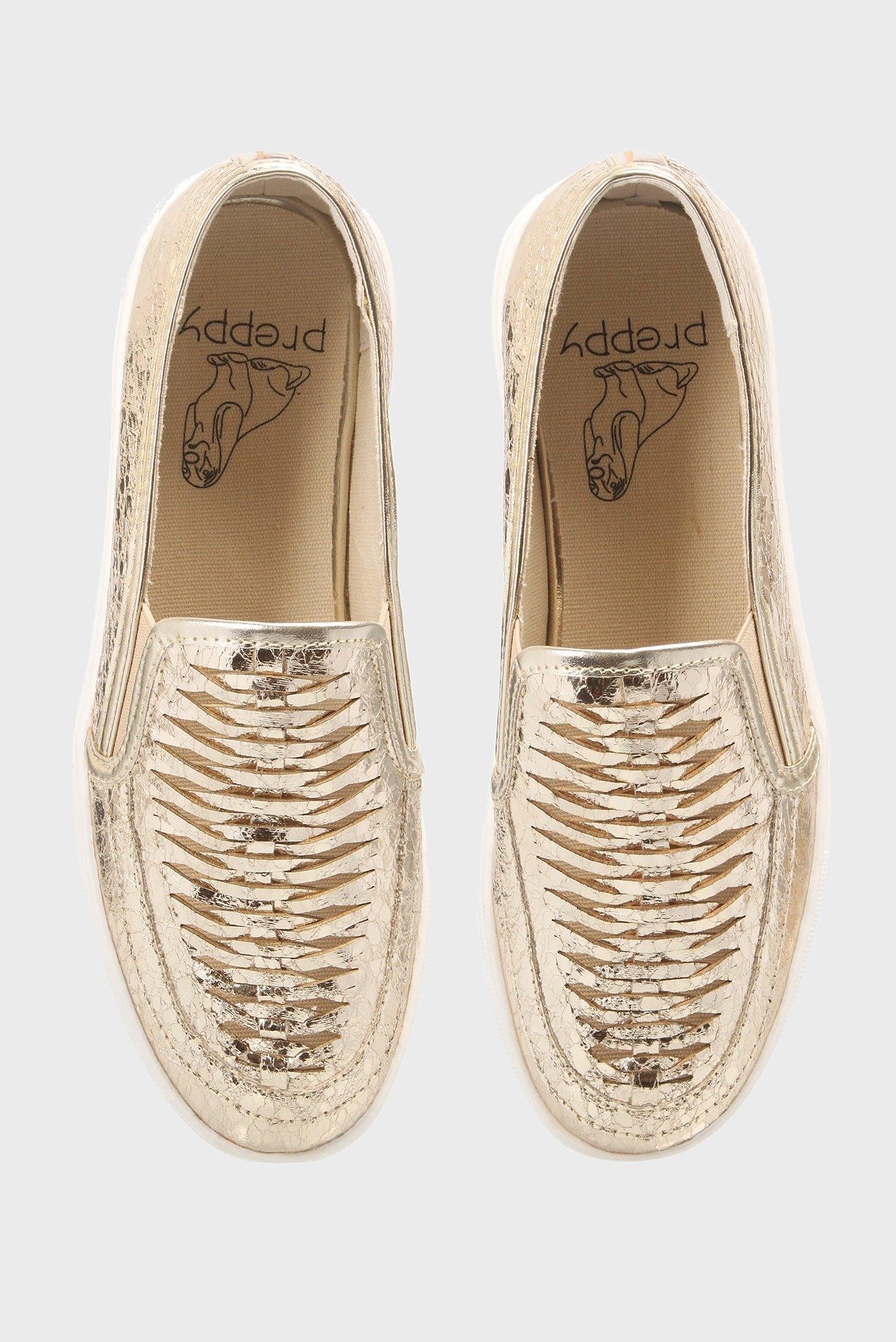 Купить Женские золотистые слипоны с плетением Preppy Preppy 905716 – Киев, Украина. Цены в интернет магазине MD Fashion
