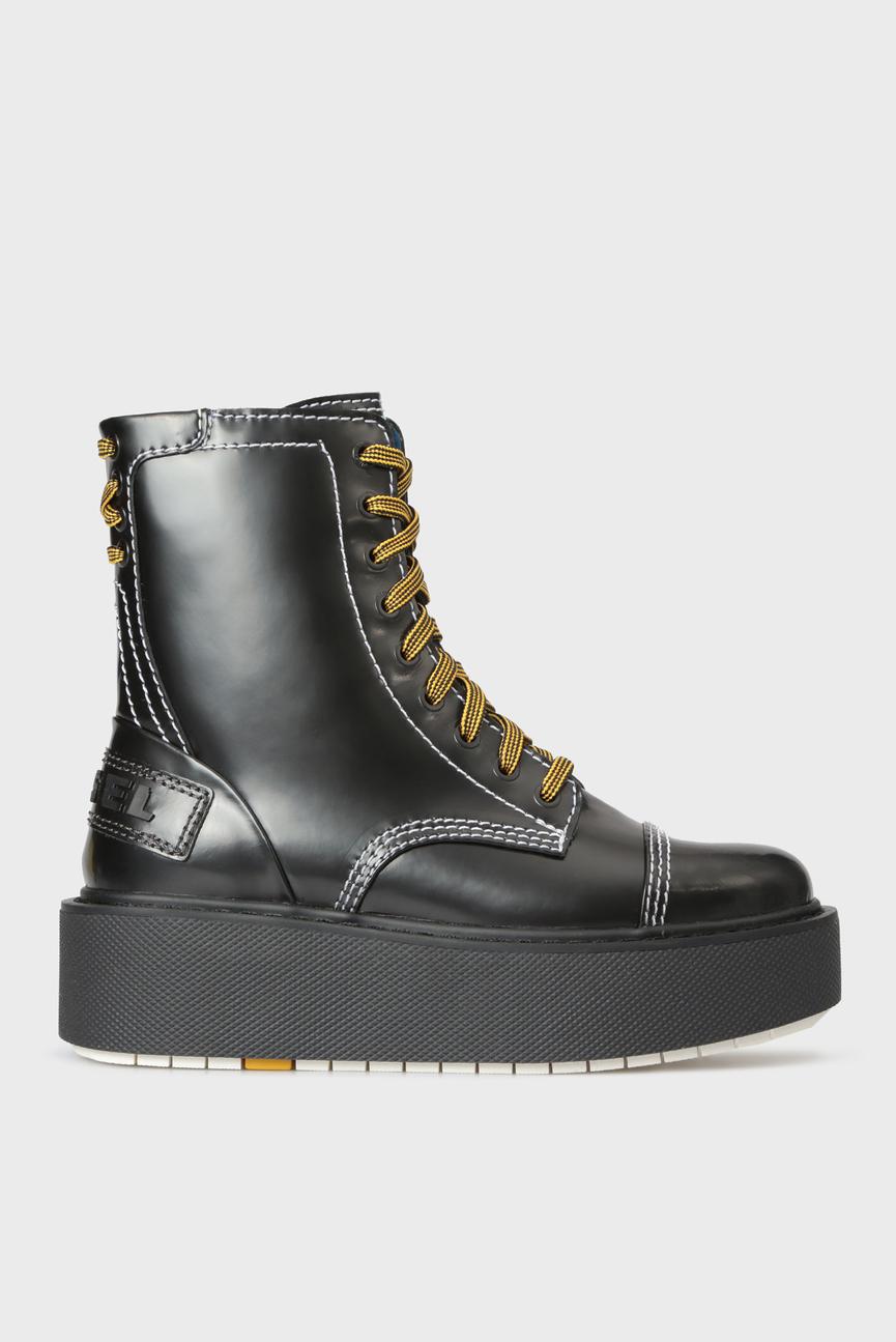 Женские черные кожаные ботинки D-CAGE HB