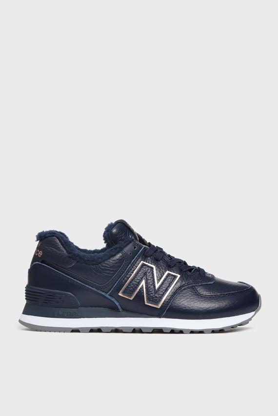 Женские темно-синие кожаные кроссовки 574