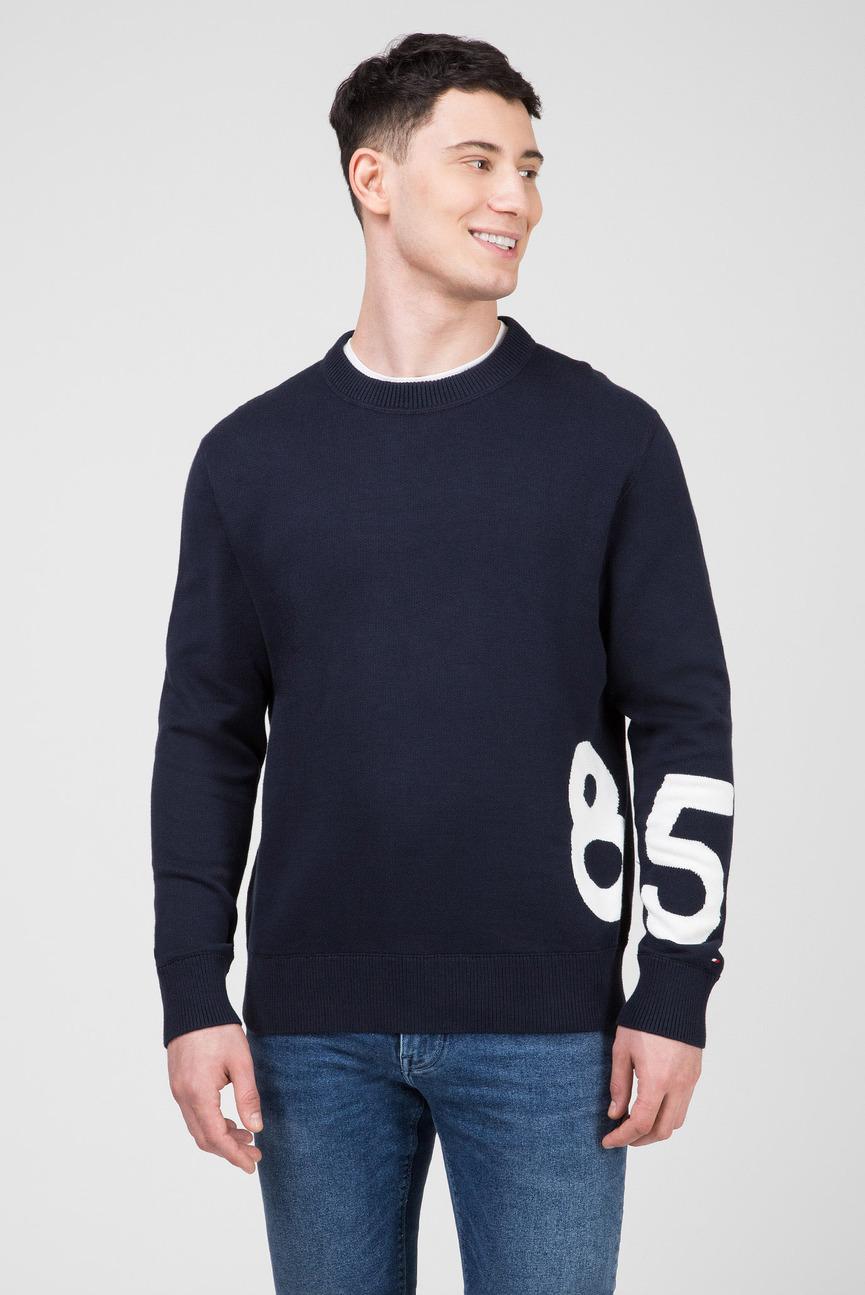 Мужской темно-синий свитер RELAXED FIT ENLARGED NUMBER