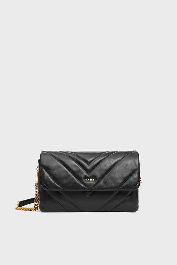 Женская черная кожаная сумка через плечо Vivian