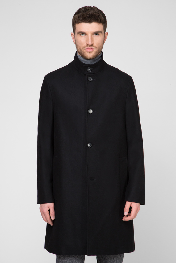 Мужское черное шерстяное пальто WOOL CASHMERE BLEND FUNNEL