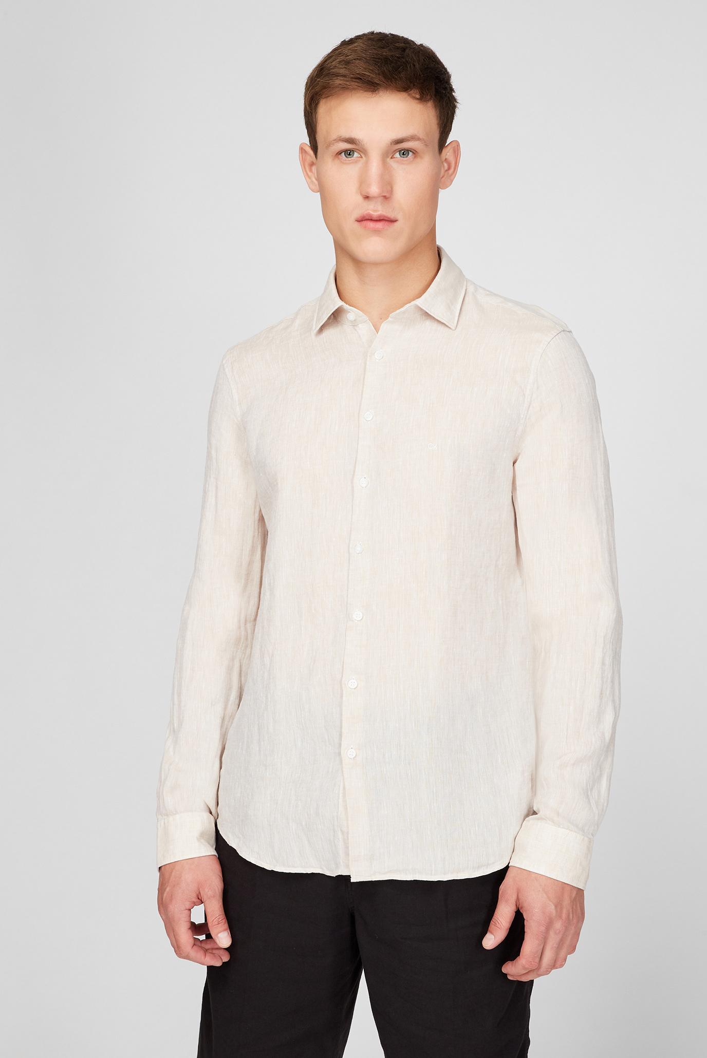 Мужская светло-бежевая льнянаня рубашка 1