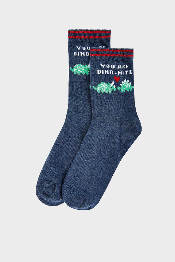 Женские синие носки YOU ARE DINO-MITE AN